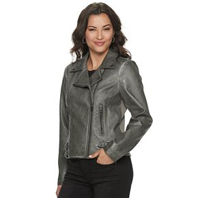 Women's Sebby Collection Asymmetrical Faux-Leather Moto Jacket