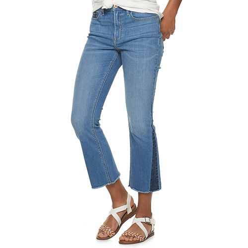 Juniors' American Rag Two Tone High Rise Kick Flare Jeans