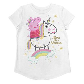 Girls 4-12 Jumping Beans® Peppa Pig Glittery Unicorn Graphic Tee