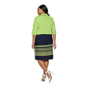 Plus Size Maya Brooke Striped Sheath Dress & Solid Jacket Set