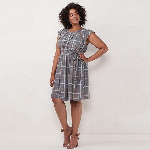 Women's LC Lauren Conrad Pleated Neck Patterned Dress