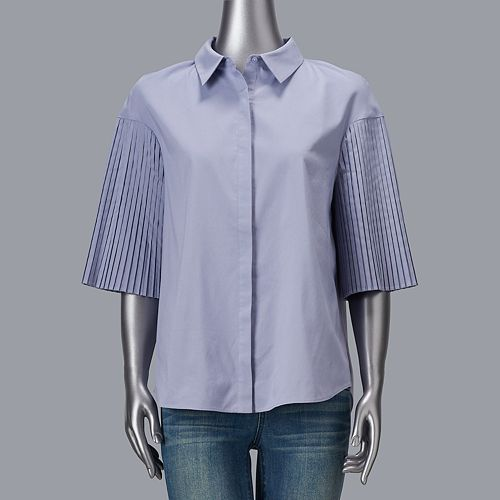 Women's Simply Vera Vera Wang Pleat Sleeve Shirt