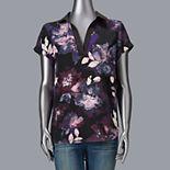 Women's Simply Vera Vera Wang Y-Neck Popover Shirt