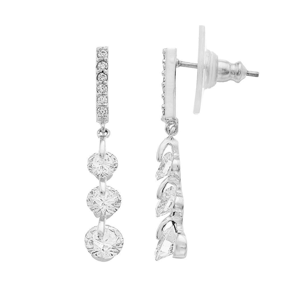 Women's Linear Triple Crystal Drop Earring