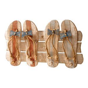 National Tree Company Sandal 4-Hook Coat Rack Wall Decor