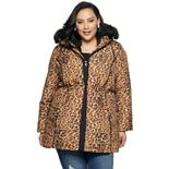 Plus Size d.e.t.a.i.l.s Hooded Animal Print Puffer Jacket