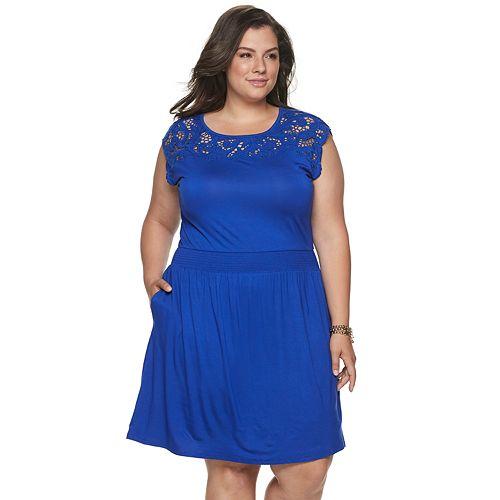 Plus Size Apt. 9® Lace-Trim Smocked Dress