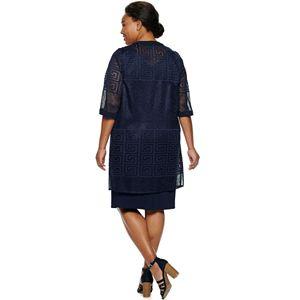 Plus Size Maya Brooke Lace Duster Jacket & Dress Set
