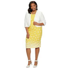 Plus Size Maya Brooke Polka Dot Jacket & Dress Set