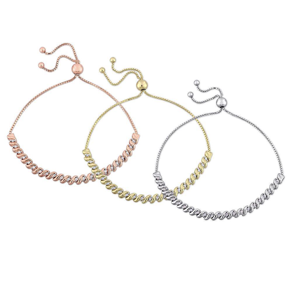 Stella Grace Sterling Silver 3/4 Carat T.W. Diamond 3-Piece Bolo Bracelet Set