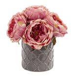 nearly natural Large Rose Artificial Arrangement in Gray Vase