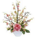 nearly natural Rose & Cherry Blossom Artificial Arrangement