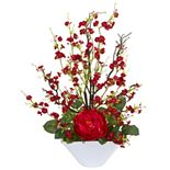 nearly natural Rose & Cherry Blossom Artificial Arrangement