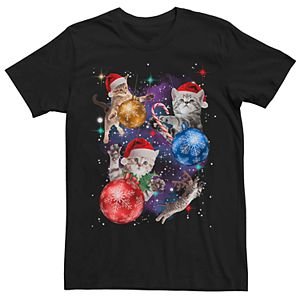 Men's Space Cats Christmas Ornaments Graphic Tee