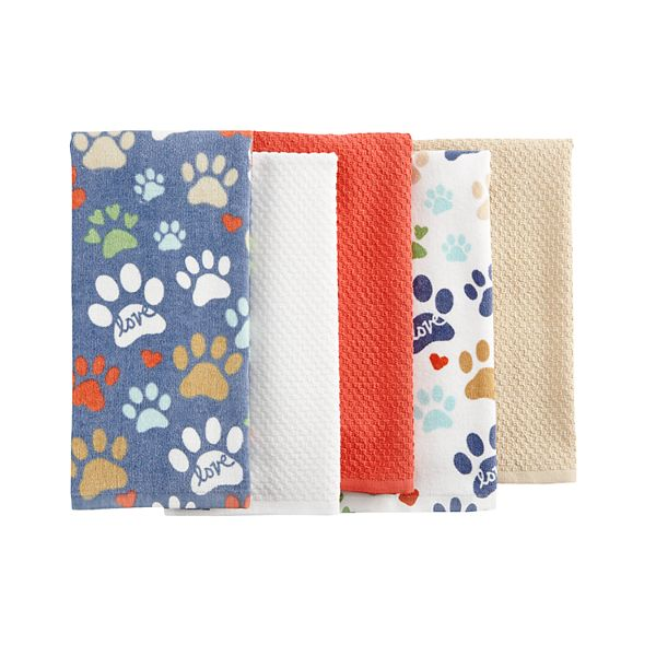The Big One Dog Paw Kitchen Towel 5 Pk