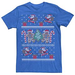 9f417a5c Men's Santa 8-Bit Ugly Christmas Sweater Style Graphic Tee