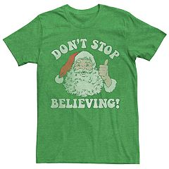 3975ae88459d Men's Santa Claus Don't Stop Believing Vintage Christmas Graphic Tee