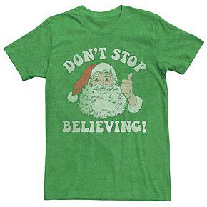 Men's Santa Claus Don't Stop Believing Vintage Christmas Graphic Tee