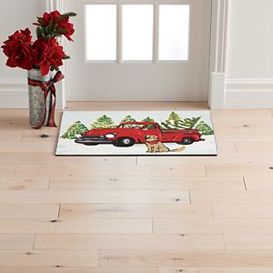 """St. Nicholas Square Truck and Dog Holiday Rug - 20"""" x 30"""""""
