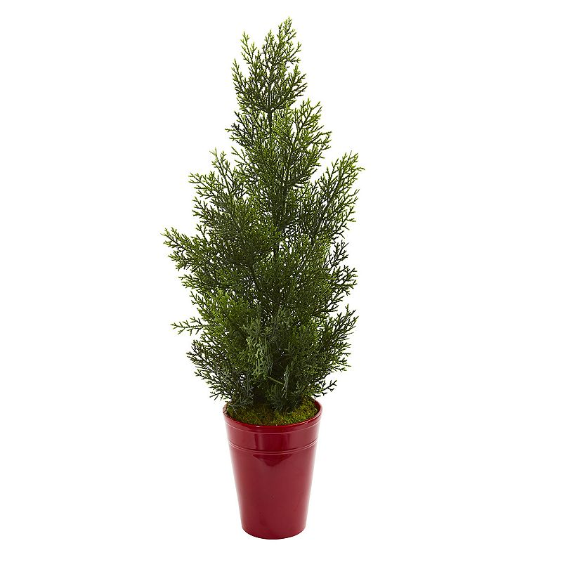 nearly natural 27-In. Mini Cedar Artificial Pine Tree in Decorative Planter (Indoor/Outdoor), Red Add a splash of natural color to your decor without the hassle of maintenance with this artificial mini cedar pine tree from nearly natural. Add a splash of natural color to your decor without the hassle of maintenance with this artificial mini cedar pine tree from nearly natural. Dimensions: 13 W x 13 D x 27 H Weight: 2.05 lbs. Styrofoam, Moss, Plastic, Iron Wire, Ceramic Wipe clean Imported Size: One Size. Color: Red. Gender: unisex. Age Group: adult.