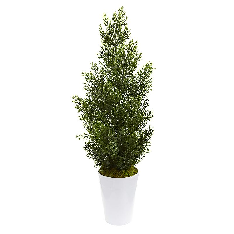 nearly natural 27-In. Mini Cedar Artificial Pine Tree in Decorative Planter (Indoor/Outdoor), White Add a splash of natural color to your decor without the hassle of maintenance with this artificial mini cedar pine tree from nearly natural. Add a splash of natural color to your decor without the hassle of maintenance with this artificial mini cedar pine tree from nearly natural. Dimensions: 13 W x 13 D x 27 H Weight: 2.05 lbs. Styrofoam, Moss, Plastic, Iron Wire, Ceramic Wipe clean Imported Size: One Size. Color: White. Gender: unisex. Age Group: adult.
