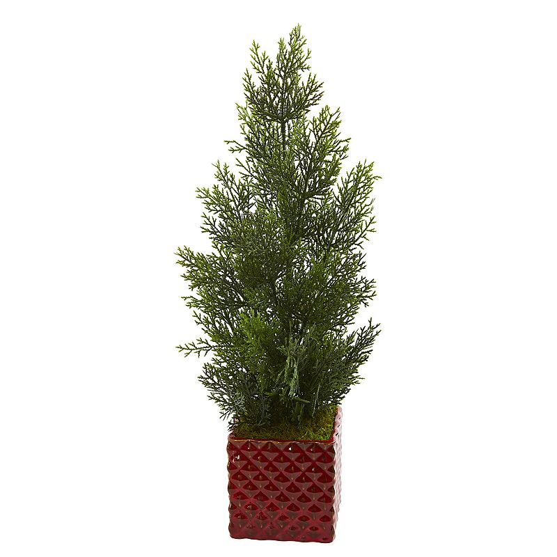 nearly natural 25-In. Mini Cedar Pine Artificial Tree in Red Planter (Indoor/Outdoor), Green Add a splash of natural color to your decor without the hassle of maintenance with this artificial mini cedar pine tree from nearly natural. Add a splash of natural color to your decor without the hassle of maintenance with this artificial mini cedar pine tree from nearly natural. Dimensions: 13 W x 13 D x 25 H Weight: 1.45 lbs. Styrofoam, Moss, Plastic, Iron Wire, Ceramic Wipe clean Imported Size: One Size. Color: Green. Gender: unisex. Age Group: adult.