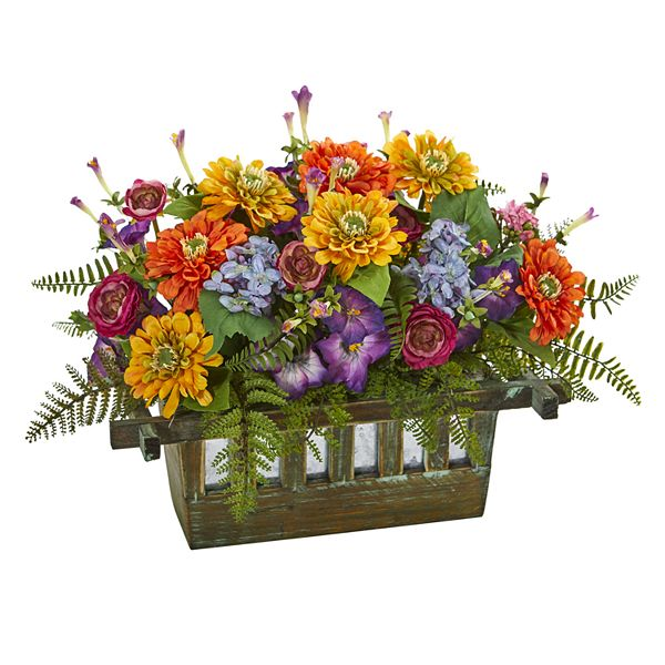 Nearly Natural Mixed Floral Artificial Arrangement In Rectangular Wood Planter
