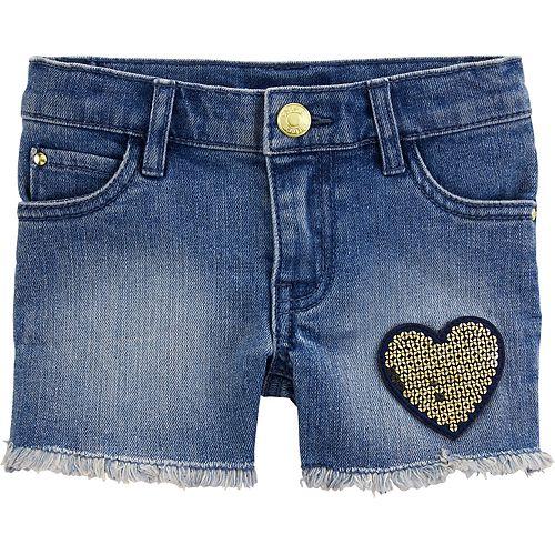Toddler Girl Carter's Sequin Heart Denim Shorts