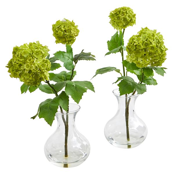 Nearly Natural Snowball Hydrangea Artificial Arrangement In Vase Set Of 2