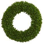 nearly natural 19.5 In. Tea Leaf Wreath UV Resistant (Indoor / Outdoor)