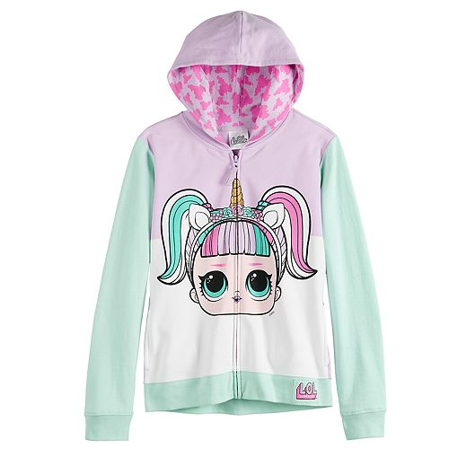 Girls Fleece Hoodie Sweatshirt with Character Hood Surprise L.O.L