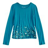 Girls 7-16 & Plus Size Mudd® Cozy Cinch Front Printed Top