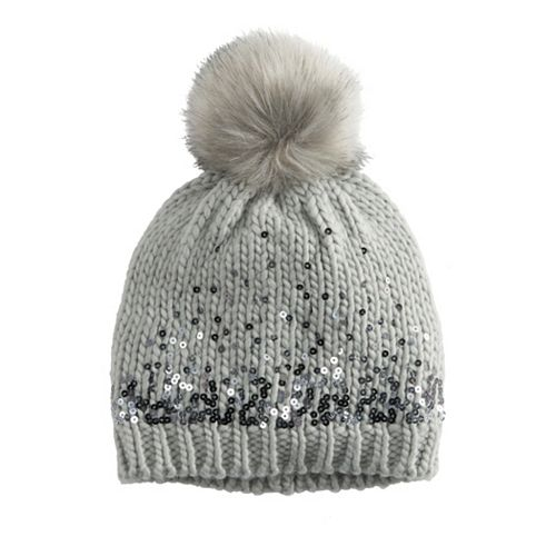 Women's LC Lauren Conrad Gradient Sequin Beanie with Faux Fur Pom