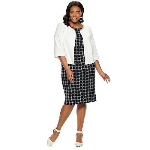 Plus Size Maya Brooke Checkered Dress & Jacket Set