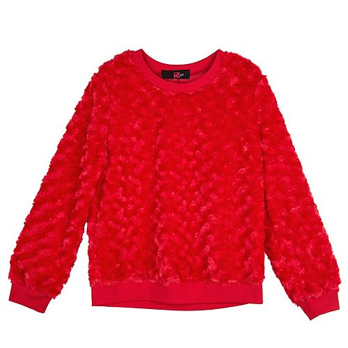 Girls' 7-16 IZ Amy Byer Ribbed Cuff Fuzzy Pullover Top