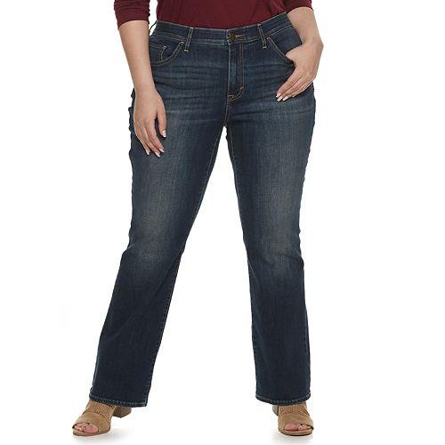 Plus Size EVRI Fit Solution Boot Cut Demin Jeans