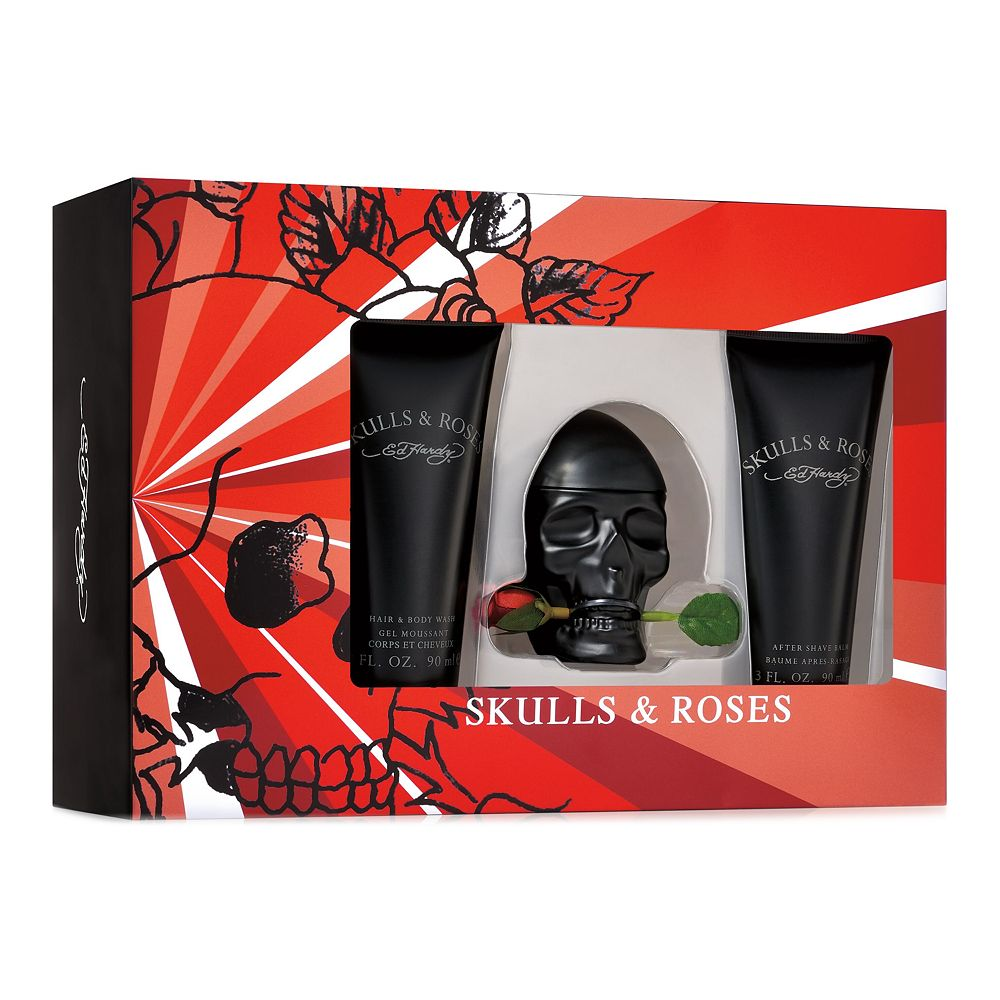 Ed Hardy Skulls & Roses 3-Piece Men's Cologne Gift Set - Eau de Toilette ($70 Value)