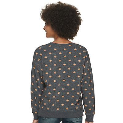 Juniors' Long Sleeve Pumpkin All Over Sweatshirt