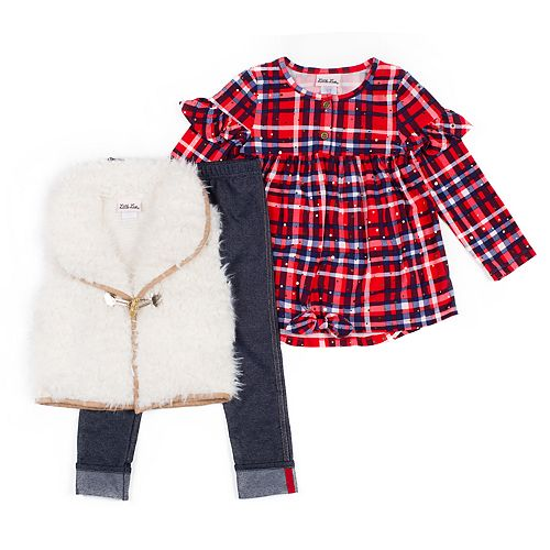 Toddler Girl Little Lass Plaid Top, Faux-Fur Vest & Jeggings Set