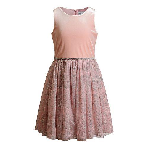 Girls 7-16 Emily West Velvet & Mesh Dress