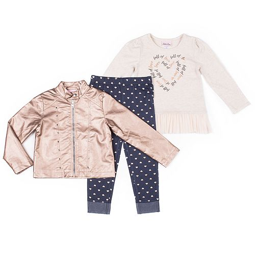 Toddler Girl Little Lass Faux-Leather Jacket, Peplum-Hem Tee and Polka-Dot Jeggings Set