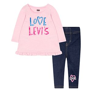 Toddler Girl Levi's Logo Graphic Top & Pants Set