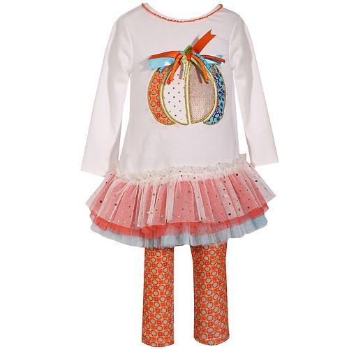 Toddler Girl's Bonnie Jean Thanksgiving Knit Legging and Pumpkin Applique TuTu Set
