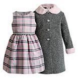 Toddler Girl Youngland Plaid Woven Dress & Coat Set