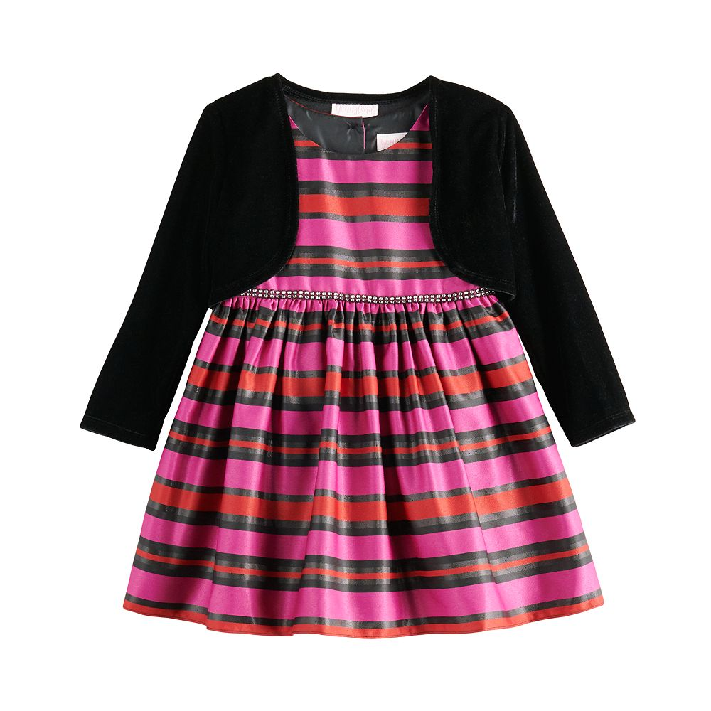 Toddler Girl Youngland Striped Dress & Shrug Set