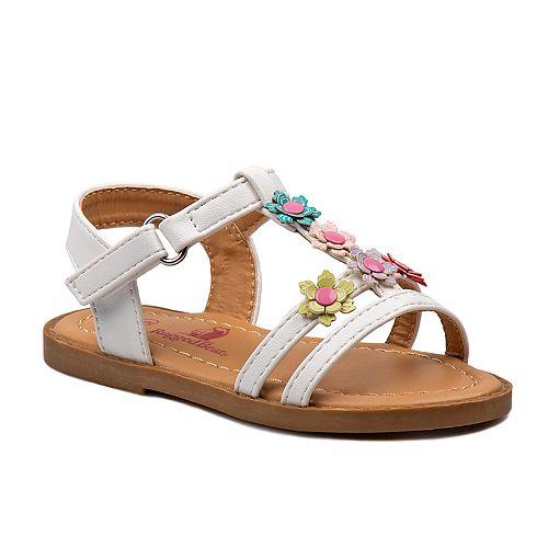 Rugged Bear Flower Toddler Girls' T-Strap Sandals
