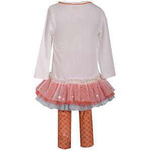 Baby Girl's Bonnie Jean Thanksgiving Knit Legging and Pumpkin Applique TuTu Set