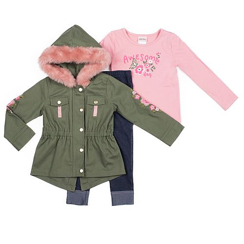 Baby Girl Little Lass Canvas Jacket, Graphic Tee & Jeggings Set