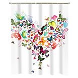 Popular Bath Butterfly Heart Shower Curtain