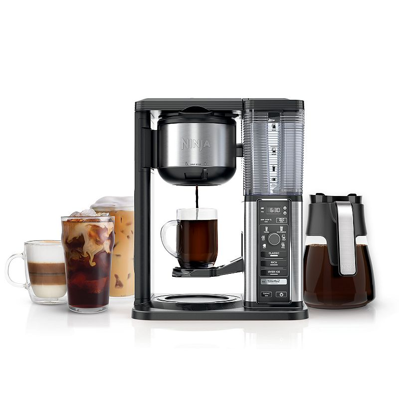 Ninja Specialty Coffee Maker with Glass Carafe, Black Bring the coffeehouse home with the Ninja Specialty Coffee Maker. Bring the coffeehouse home with the Ninja Specialty Coffee Maker. Combine super-rich coffee concentrates with hot or cold frothed milk to create delicious coffeehouse-style drinks or enjoy flavorful iced coffee that never tastes watered down Brew anything from a single cup to a half carafe or a full carafe using your favorite grounds, no pods required SCA Certified Home Brewer BPA free WHAT'S INCLUDED Removable water reservoir, Ninja Smart Scoop, Gold-tone permanent filter, 50 oz. (10-cup) glass carafe, fold-away frother & recipe inspiration guide PRODUCT CARE Manufacturer's 1-year limited warrantyFor warranty information please click here 10-cup capacity 15.04 H x 11.99 L x 8.75 W 1550 watts 25-in. cord length Model no. CM401 This product may contain a chemical known to the state of California to cause cancer, birth defects or other reproductive harm. For more information go to www.P65Warnings.ca.gov. Size: One Size. Color: Black. Gender: unisex. Age Group: adult.